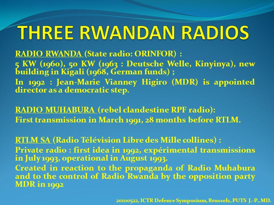 RADIO RWANDA (State radio: ORINFOR) : 5 KW (1960), 50 KW (1963 : Deutsche Welle, Kinyinya), new building in Kigali (1968, German funds) ; In 1992 : Je