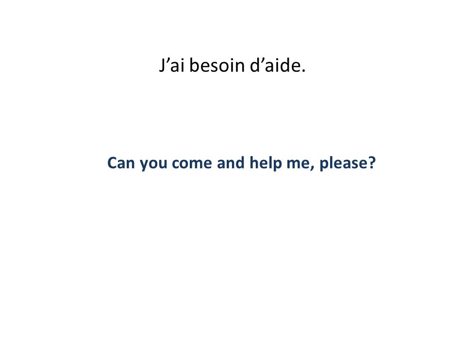Jai besoin daide. Can you come and help me, please?