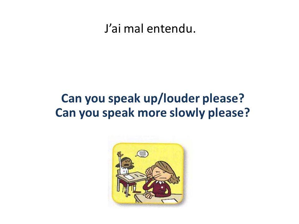 Jai mal entendu. Can you speak up/louder please? Can you speak more slowly please?