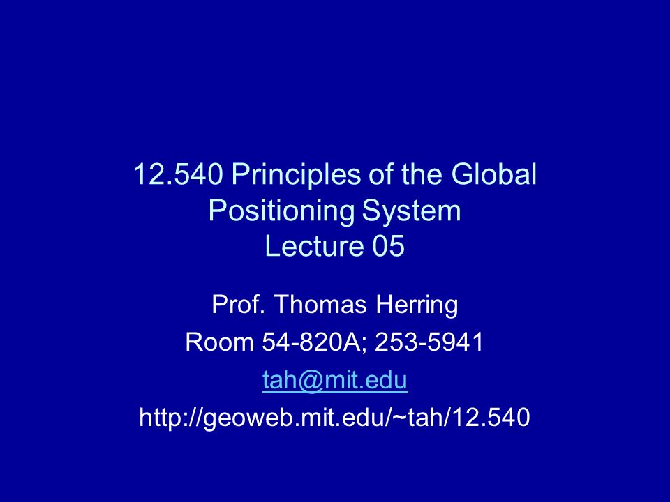 Satellite Orbits Treat the basic description and dynamics of satellite orbits Major perturbations on GPS satellite orbits Sources of orbit information: SP3 format from the International GPS service Broadcast ephemeris message Accuracy of orbits and health of satellites 02/20/1312.540 Lec 052