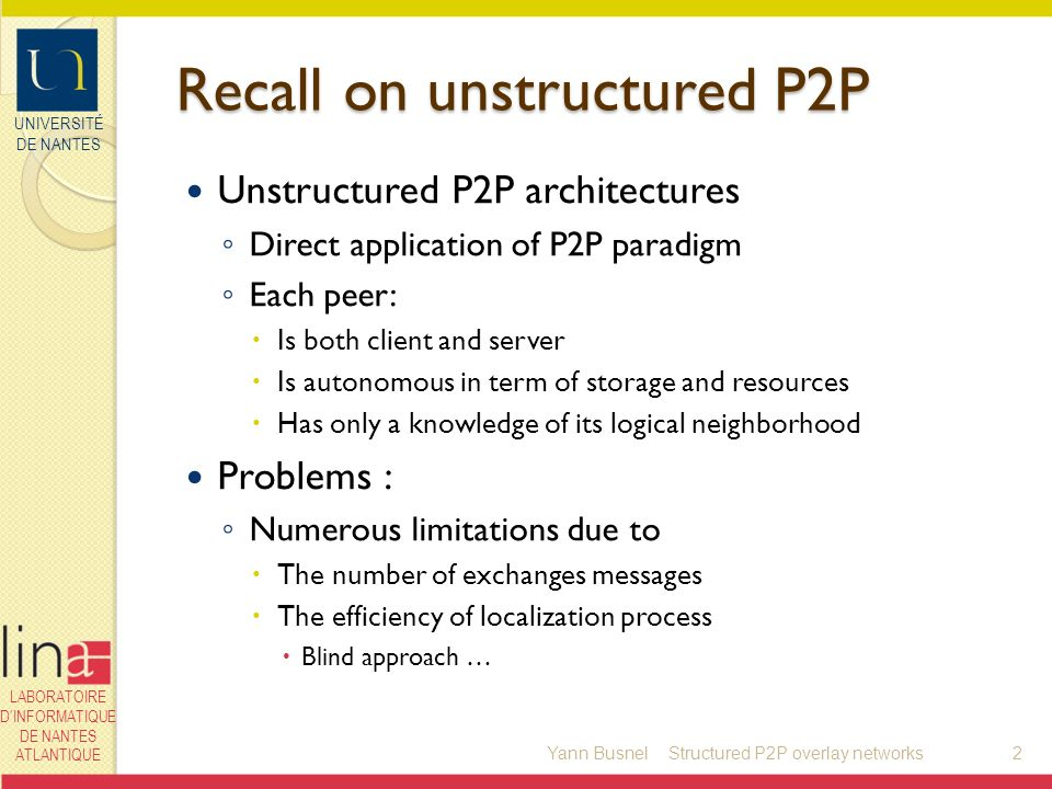 UNIVERSITÉ DE NANTES LABORATOIRE DINFORMATIQUE DE NANTES ATLANTIQUE Example of redondant super-peer C/S P2P Yann Busnel13Structured P2P overlay networks