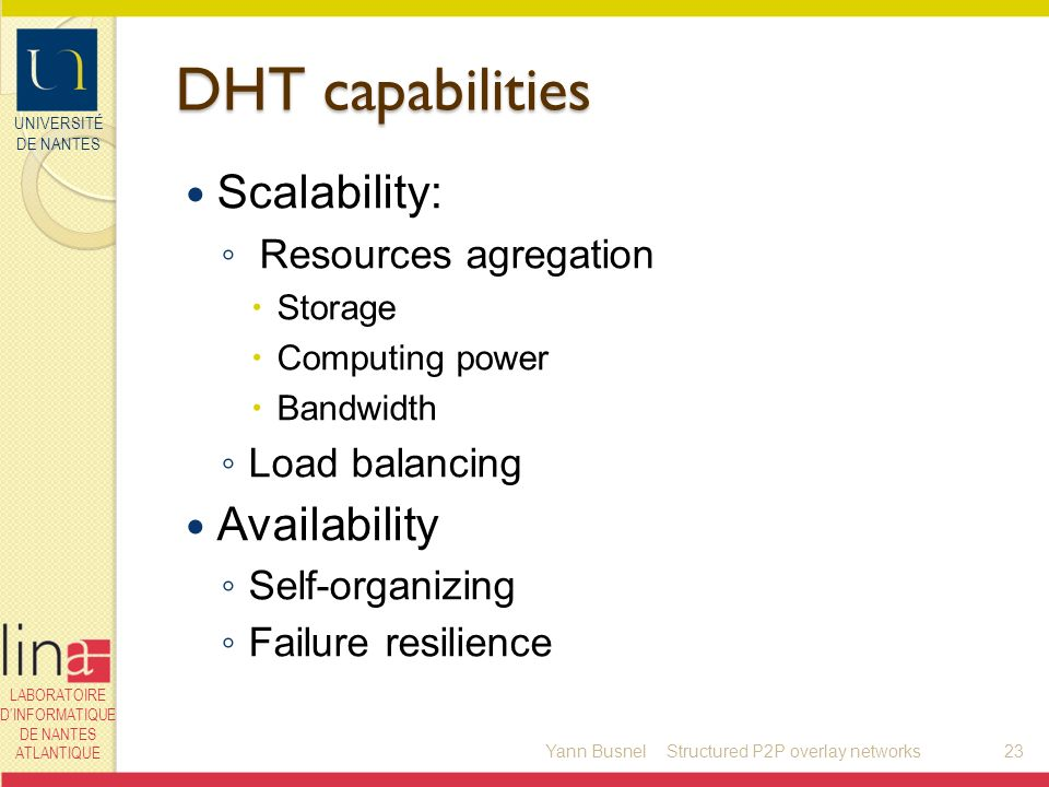 UNIVERSITÉ DE NANTES LABORATOIRE DINFORMATIQUE DE NANTES ATLANTIQUE DHT capabilities Scalability: Resources agregation Storage Computing power Bandwidth Load balancing Availability Self-organizing Failure resilience Yann Busnel23Structured P2P overlay networks
