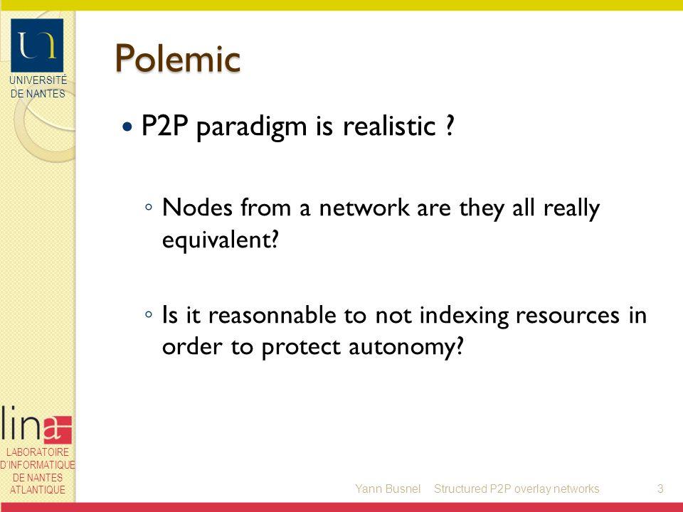 UNIVERSITÉ DE NANTES LABORATOIRE DINFORMATIQUE DE NANTES ATLANTIQUE Polemic P2P paradigm is realistic ? Nodes from a network are they all really equiv