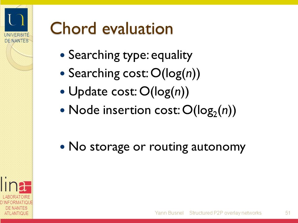 UNIVERSITÉ DE NANTES LABORATOIRE DINFORMATIQUE DE NANTES ATLANTIQUE Chord evaluation Searching type: equality Searching cost: O(log(n)) Update cost: O