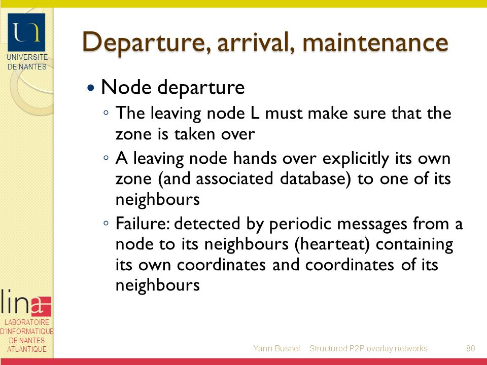 UNIVERSITÉ DE NANTES LABORATOIRE DINFORMATIQUE DE NANTES ATLANTIQUE Departure, arrival, maintenance Node departure The leaving node L must make sure that the zone is taken over A leaving node hands over explicitly its own zone (and associated database) to one of its neighbours Failure: detected by periodic messages from a node to its neighbours (hearteat) containing its own coordinates and coordinates of its neighbours Yann Busnel80Structured P2P overlay networks