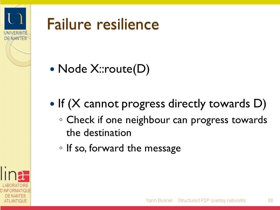 UNIVERSITÉ DE NANTES LABORATOIRE DINFORMATIQUE DE NANTES ATLANTIQUE Failure resilience Node X::route(D) If (X cannot progress directly towards D) Check if one neighbour can progress towards the destination If so, forward the message Yann Busnel86Structured P2P overlay networks