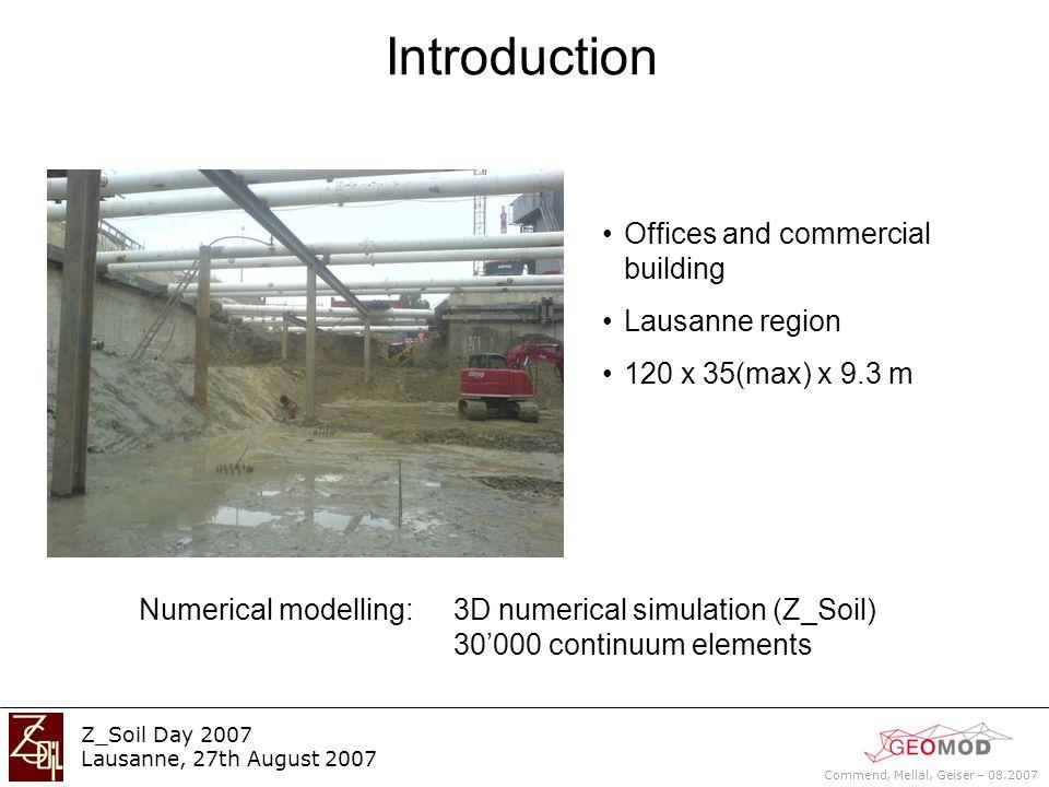 Commend, Mellal, Geiser – 08.2007 Z_Soil Day 2007 Lausanne, 27th August 2007 Temperature effect on bracing : 2D model imposing T on bracing (Q4) T : from 10 °C to 40 °C => T = 30 °C T = 10 °C = cte