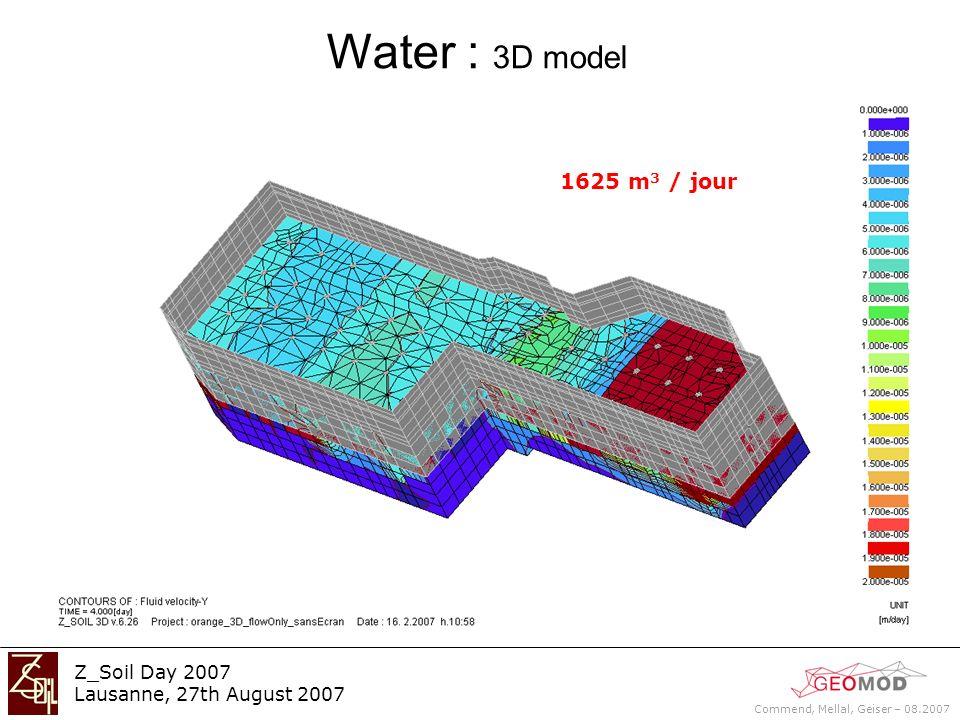 Commend, Mellal, Geiser – 08.2007 Z_Soil Day 2007 Lausanne, 27th August 2007 Water : 3D model 1625 m 3 / jour