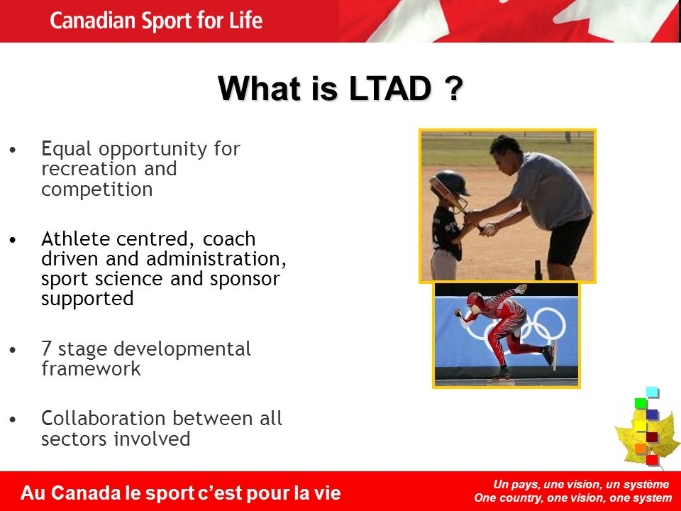 Un pays, une vision, un système One country, one vision, one system Au Canada le sport cest pour la vie Equal opportunity for recreation and competiti