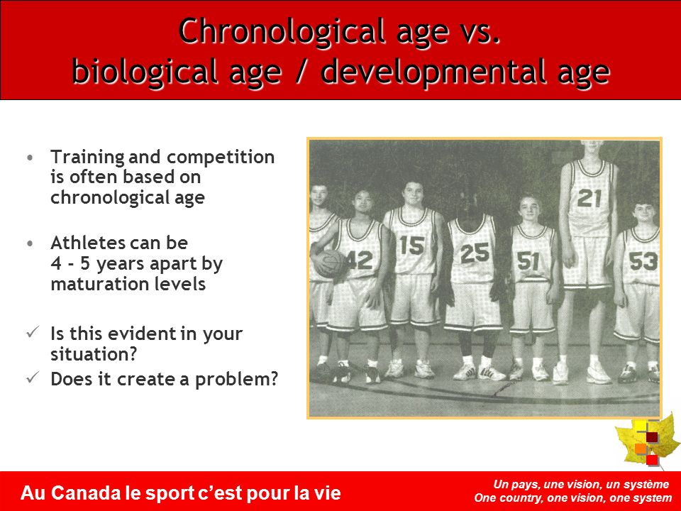 Un pays, une vision, un système One country, one vision, one system Au Canada le sport cest pour la vie Chronological age vs. biological age / develop