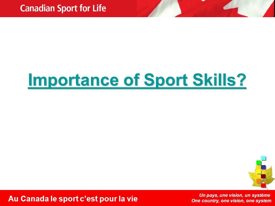 Un pays, une vision, un système One country, one vision, one system Au Canada le sport cest pour la vie Importance of Sport Skills.