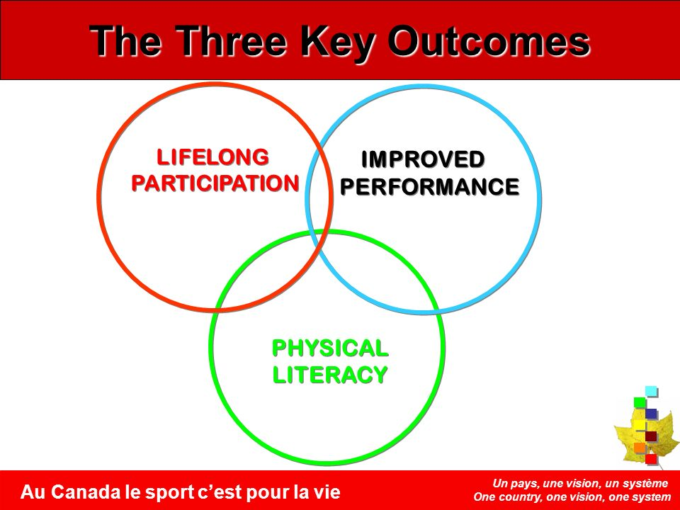 Un pays, une vision, un système One country, one vision, one system Au Canada le sport cest pour la vie PHYSICAL LITERACY PHYSICAL LITERACY The Three