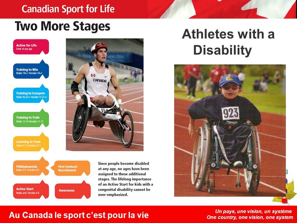 Un pays, une vision, un système One country, one vision, one system Au Canada le sport cest pour la vie Athletes with a Disability