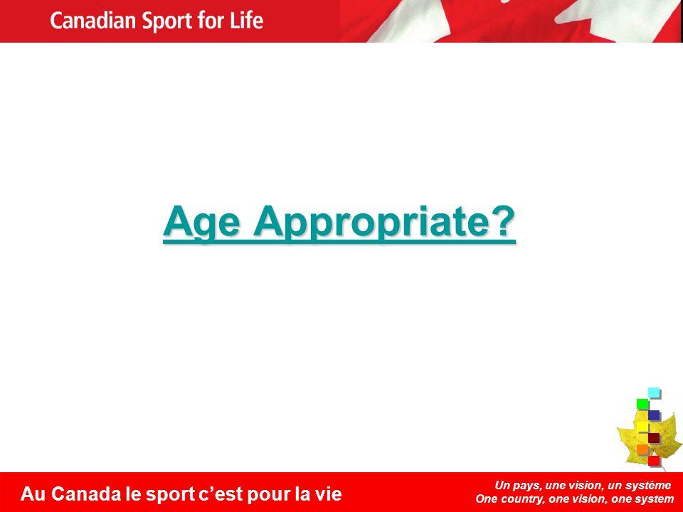 Un pays, une vision, un système One country, one vision, one system Au Canada le sport cest pour la vie Age Appropriate.