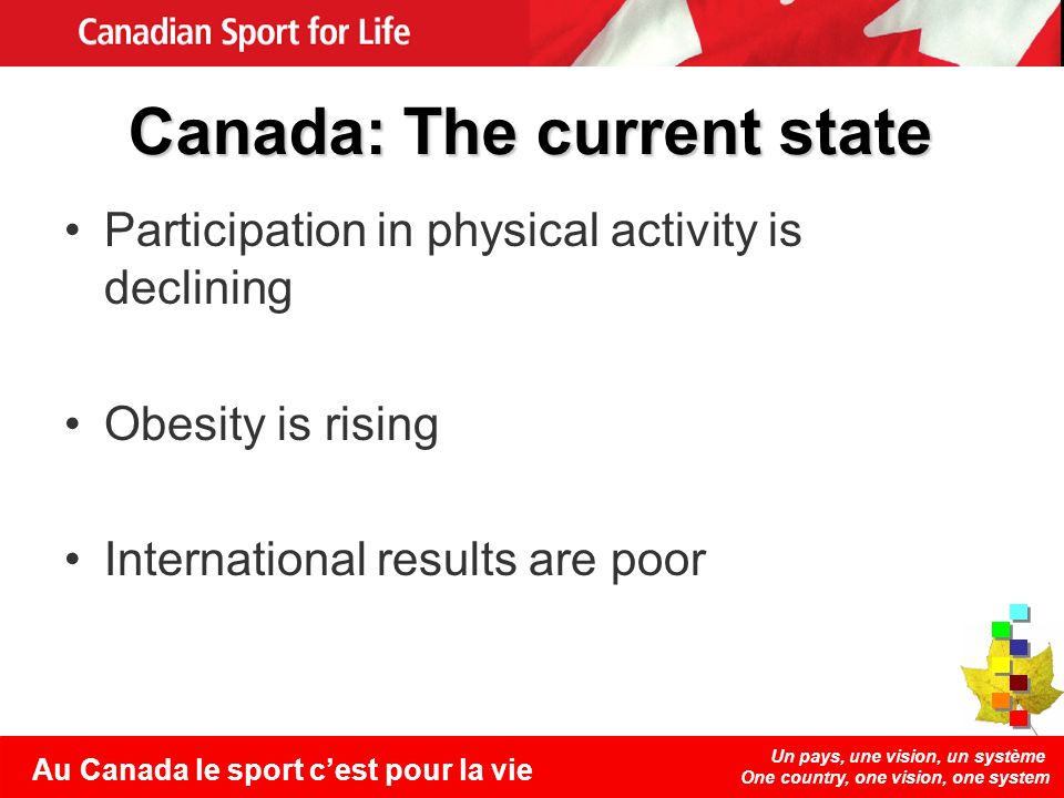 Un pays, une vision, un système One country, one vision, one system Au Canada le sport cest pour la vie Canada: The current state Participation in phy