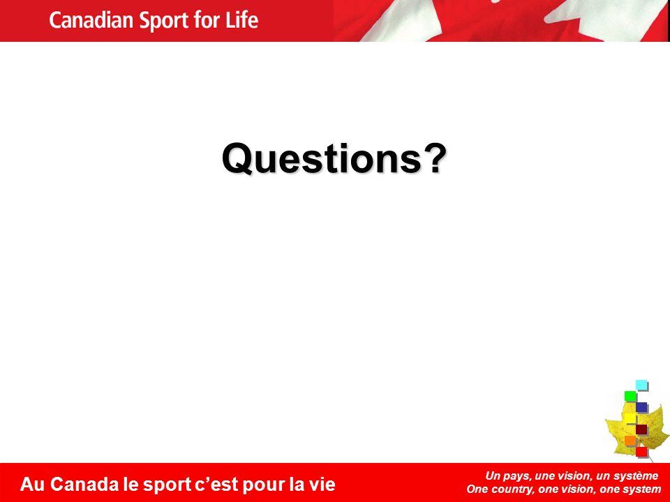 Un pays, une vision, un système One country, one vision, one system Au Canada le sport cest pour la vie Questions