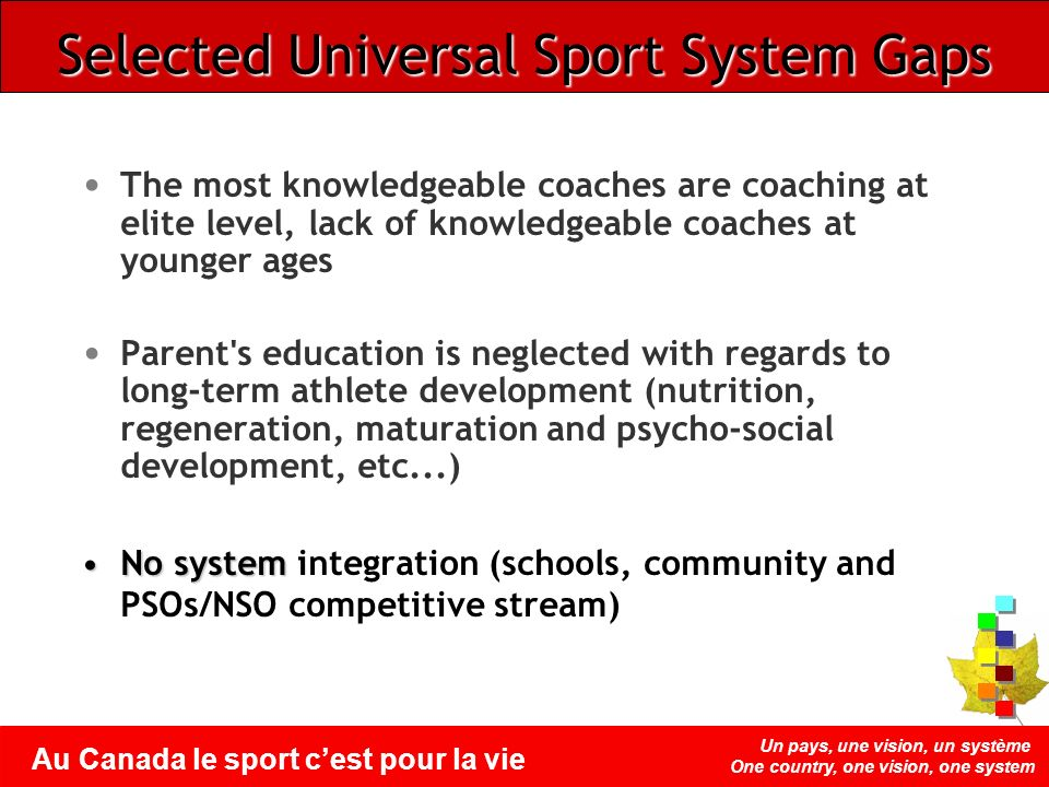 Un pays, une vision, un système One country, one vision, one system Au Canada le sport cest pour la vie The most knowledgeable coaches are coaching at
