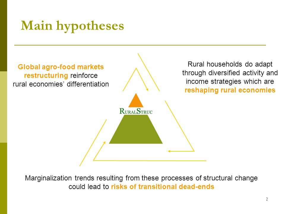 Main hypotheses 2 Rural households do adapt through diversified activity and income strategies which are reshaping rural economies Global agro-food markets restructuring reinforce rural economies differentiation Marginalization trends resulting from these processes of structural change could lead to risks of transitional dead-ends