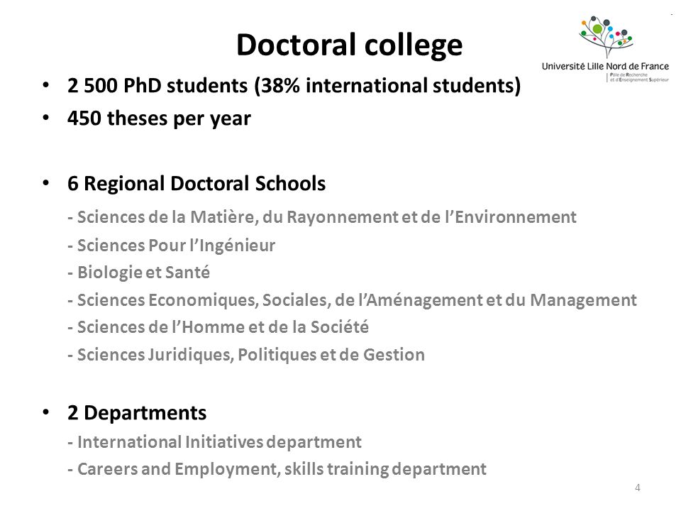 Doctoral college PhD students (38% international students) 450 theses per year 6 Regional Doctoral Schools - Sciences de la Matière, du Rayonnement et de lEnvironnement - Sciences Pour lIngénieur - Biologie et Santé - Sciences Economiques, Sociales, de lAménagement et du Management - Sciences de lHomme et de la Société - Sciences Juridiques, Politiques et de Gestion 2 Departments - International Initiatives department - Careers and Employment, skills training department 4
