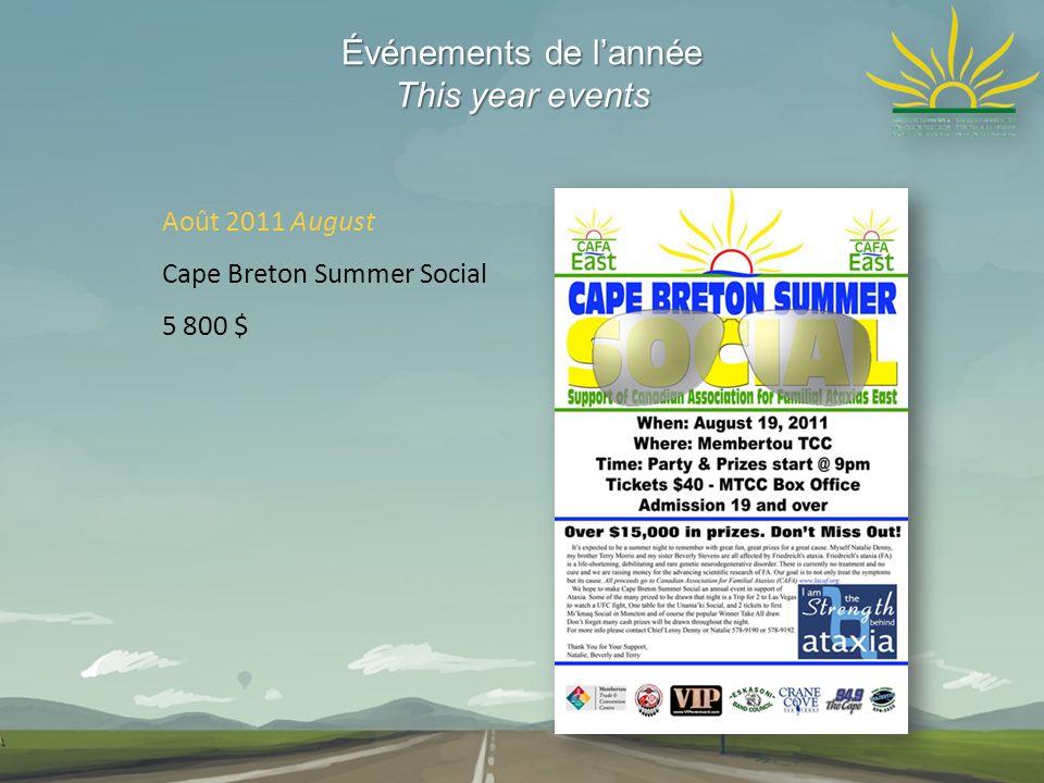 Événements de lannée This year events Août 2011 August Cape Breton Summer Social 5 800 $