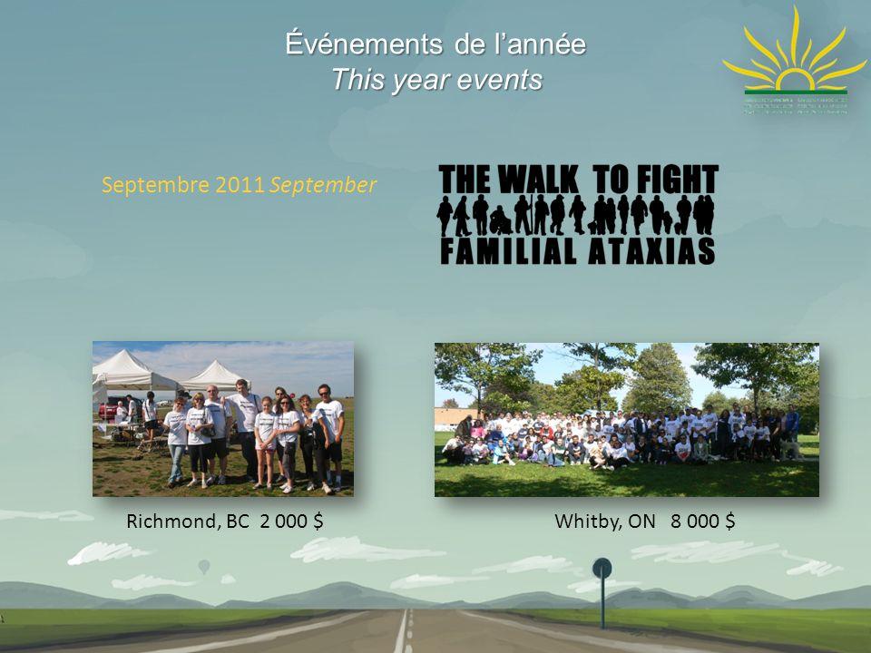 Événements de lannée This year events Septembre 2011 September Whitby, ON 8 000 $Richmond, BC 2 000 $