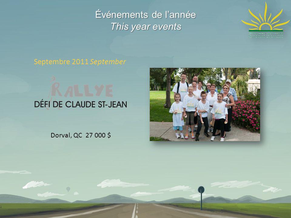 Événements de lannée This year events Septembre 2011 September Dorval, QC 27 000 $