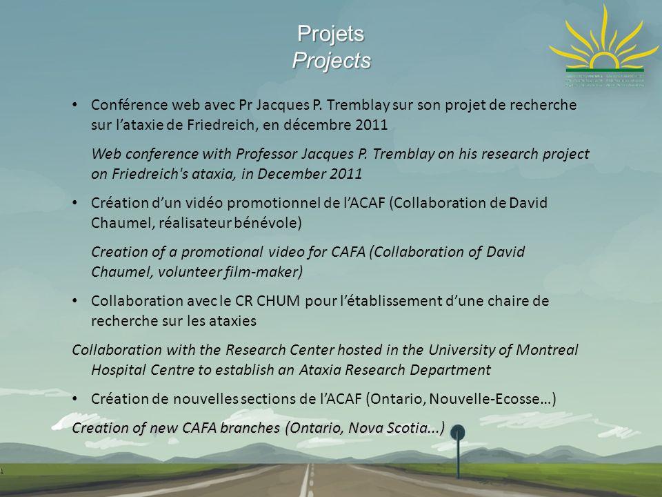 ProjetsProjects Conférence web avec Pr Jacques P. Tremblay sur son projet de recherche sur lataxie de Friedreich, en décembre 2011 Web conference with