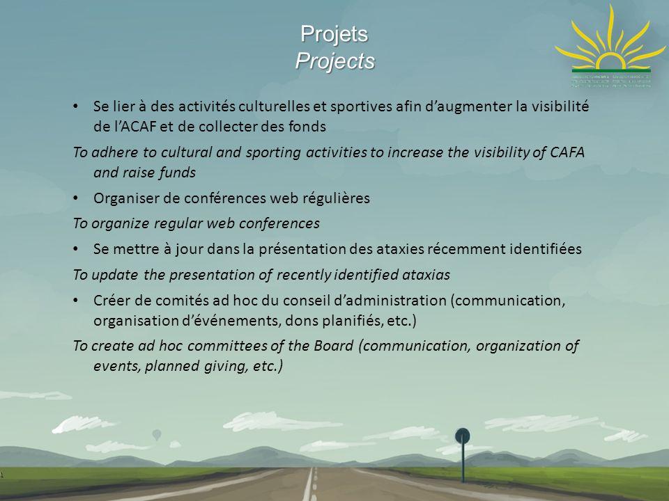 ProjetsProjects Se lier à des activités culturelles et sportives afin daugmenter la visibilité de lACAF et de collecter des fonds To adhere to cultura