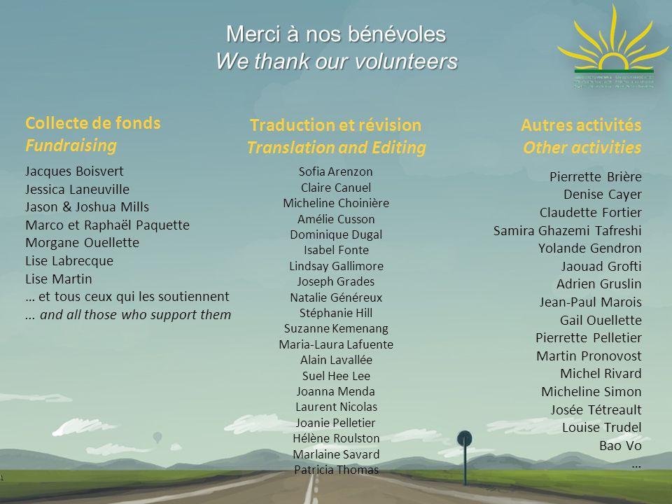 Merci à nos bénévoles We thank our volunteers Autres activités Other activities Pierrette Brière Denise Cayer Claudette Fortier Samira Ghazemi Tafresh