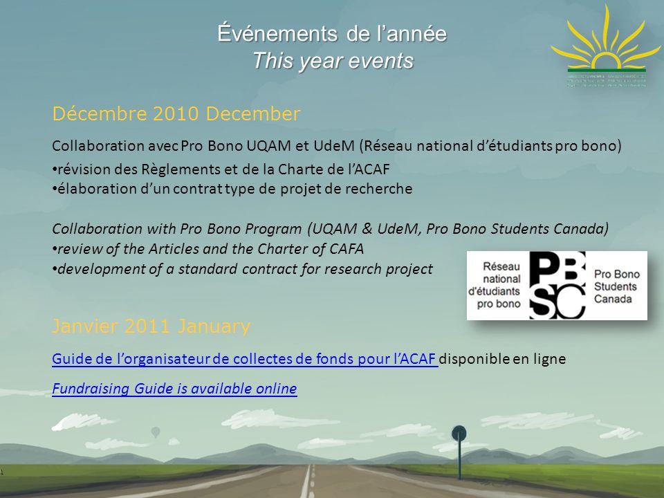 Événements de lannée This year events Décembre 2010 December Collaboration avec Pro Bono UQAM et UdeM (Réseau national détudiants pro bono) révision d
