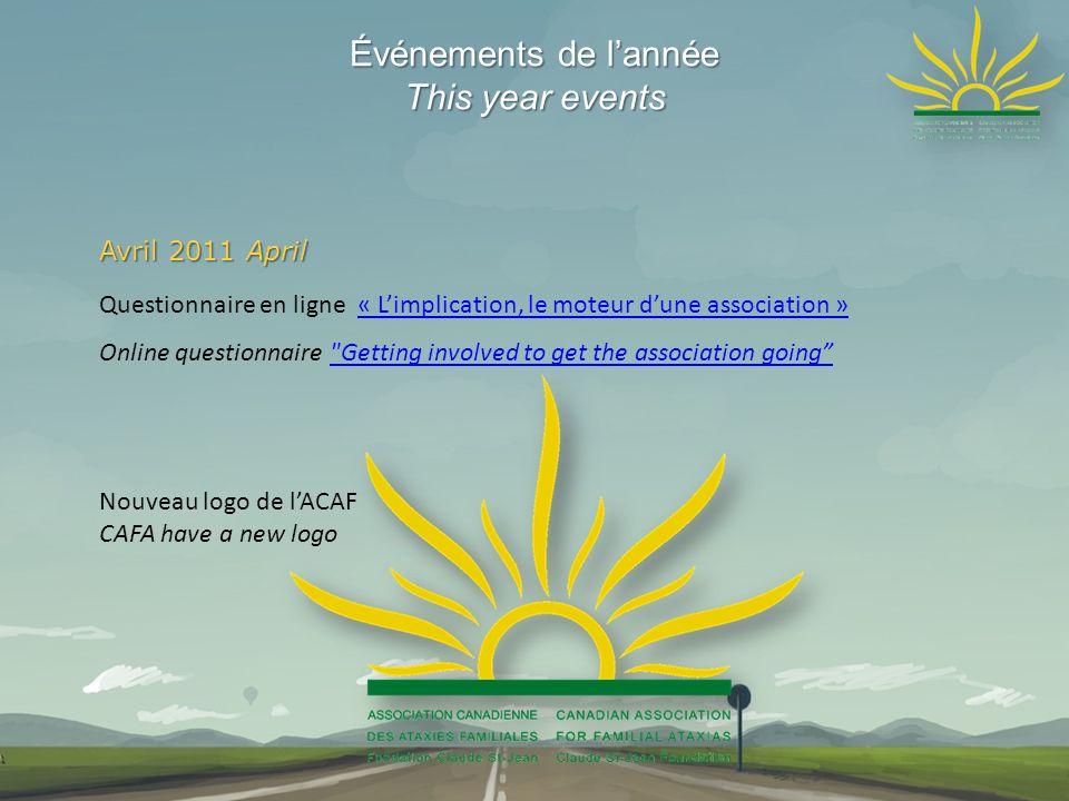 Événements de lannée This year events Avril 2011 April Questionnaire en ligne « Limplication, le moteur dune association »« Limplication, le moteur du