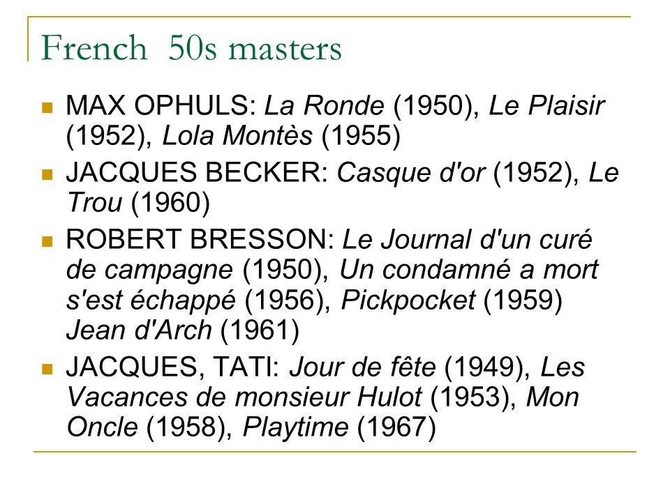 French 50s masters MAX OPHULS: La Ronde (1950), Le Plaisir (1952), Lola Montès (1955) JACQUES BECKER: Casque d or (1952), Le Trou (1960) ROBERT BRESSON: Le Journal d un curé de campagne (1950), Un condamné a mort s est échappé (1956), Pickpocket (1959) Jean d Arch (1961) JACQUES, TATI: Jour de fête (1949), Les Vacances de monsieur Hulot (1953), Mon Oncle (1958), Playtime (1967)