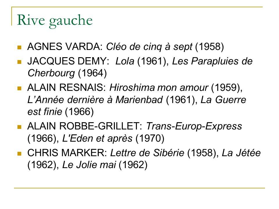 Rive gauche AGNES VARDA: Cléo de cinq à sept (1958) JACQUES DEMY: Lola (1961), Les Parapluies de Cherbourg (1964) ALAIN RESNAIS: Hiroshima mon amour (1959), LAnnée dernière à Marienbad (1961), La Guerre est finie (1966) ALAIN ROBBE-GRILLET: Trans-Europ-Express (1966), L Eden et après (1970) CHRIS MARKER: Lettre de Sibérie (1958), La Jétée (1962), Le Jolie mai (1962)