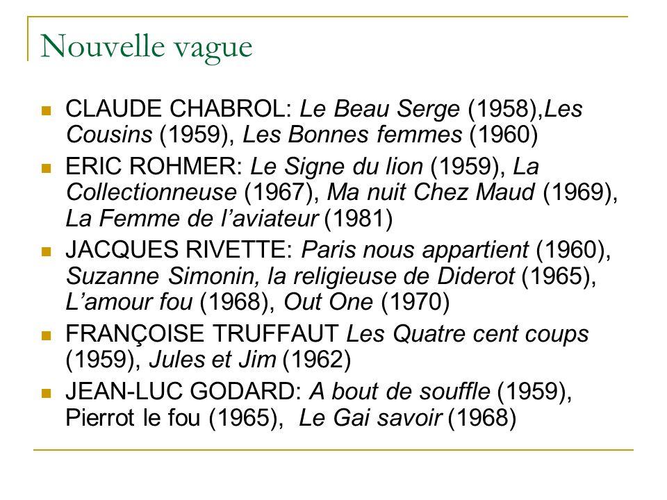 Nouvelle vague CLAUDE CHABROL: Le Beau Serge (1958),Les Cousins (1959), Les Bonnes femmes (1960) ERIC ROHMER: Le Signe du lion (1959), La Collectionneuse (1967), Ma nuit Chez Maud (1969), La Femme de laviateur (1981) JACQUES RIVETTE: Paris nous appartient (1960), Suzanne Simonin, la religieuse de Diderot (1965), Lamour fou (1968), Out One (1970) FRANÇOISE TRUFFAUT Les Quatre cent coups (1959), Jules et Jim (1962) JEAN-LUC GODARD: A bout de souffle (1959), Pierrot le fou (1965), Le Gai savoir (1968)