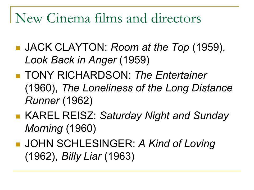 New Cinema films and directors JACK CLAYTON: Room at the Top (1959), Look Back in Anger (1959) TONY RICHARDSON: The Entertainer (1960), The Loneliness of the Long Distance Runner (1962) KAREL REISZ: Saturday Night and Sunday Morning (1960) JOHN SCHLESINGER: A Kind of Loving (1962), Billy Liar (1963)