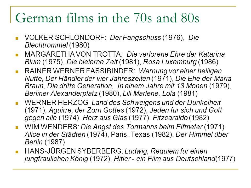 German films in the 70s and 80s VOLKER SCHLÖNDORF: Der Fangschuss (1976), Die Blechtrommel (1980) MARGARETHA VON TROTTA: Die verlorene Ehre der Katarina Blum (1975), Die bleierne Zeit (1981), Rosa Luxemburg (1986).