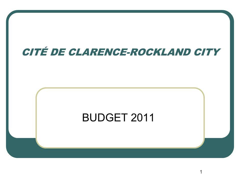 1 CITÉ DE CLARENCE-ROCKLAND CITY BUDGET 2011