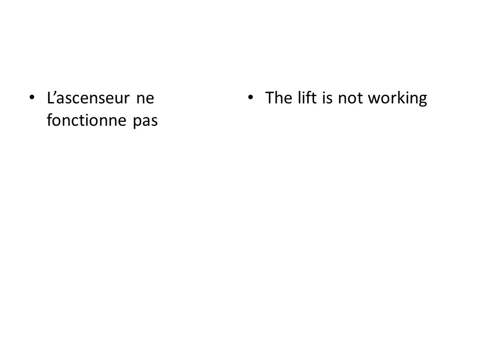 Lascenseur ne fonctionne pas The lift is not working