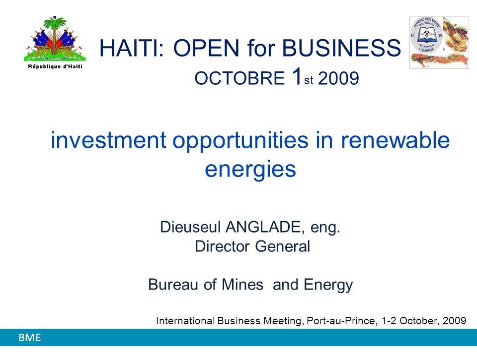 Haiti Energy Matrix Area Covered by Forest: 3,8% Source: IEA. FGV - BID