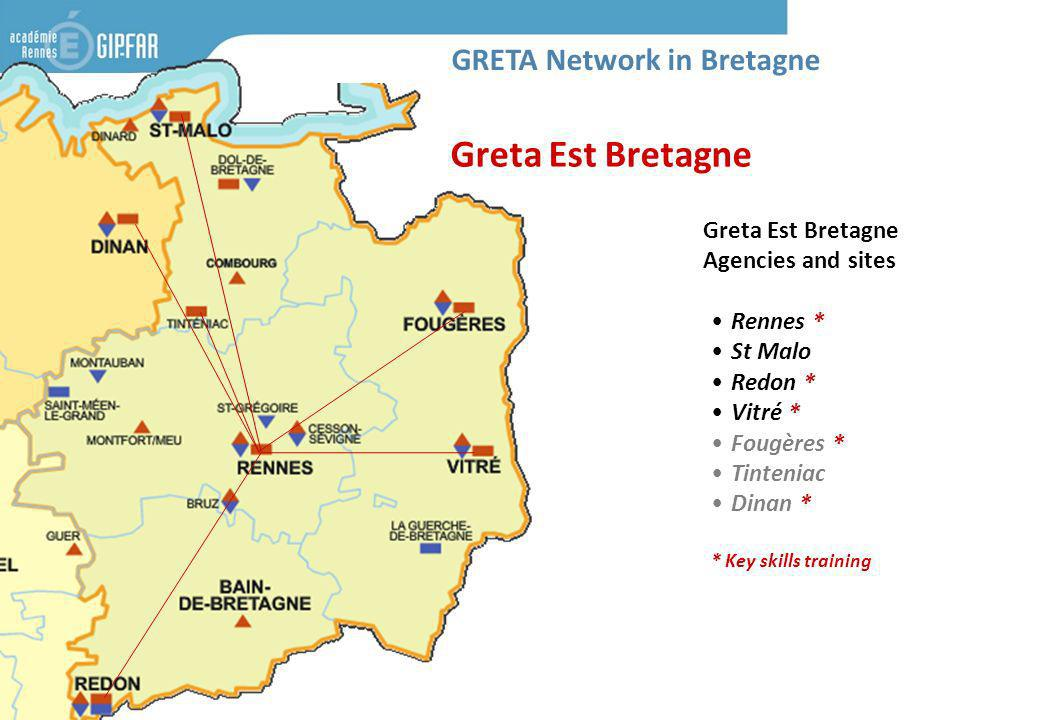 Greta Est Bretagne Agencies and sites Rennes * St Malo Redon * Vitré * Fougères * Tinteniac Dinan * * Key skills training Greta Est Bretagne GRETA Network in Bretagne