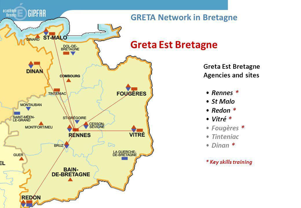 Greta Est Bretagne Agencies and sites Rennes * St Malo Redon * Vitré * Fougères * Tinteniac Dinan * * Key skills training Greta Est Bretagne GRETA Net