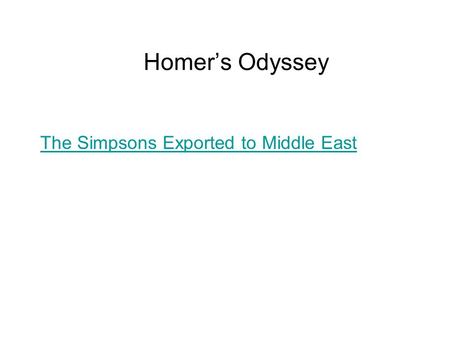 Homers Odyssey The Simpsons Exported to Middle East