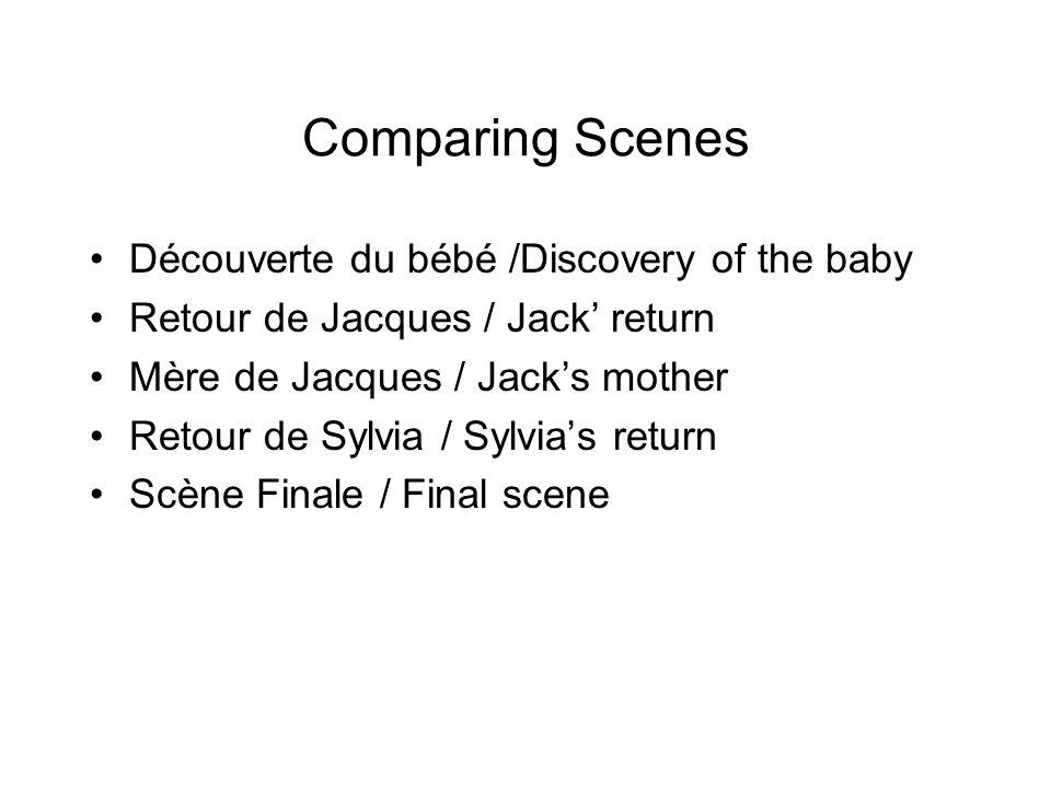 Comparing Scenes Découverte du bébé /Discovery of the baby Retour de Jacques / Jack return Mère de Jacques / Jacks mother Retour de Sylvia / Sylvias return Scène Finale / Final scene