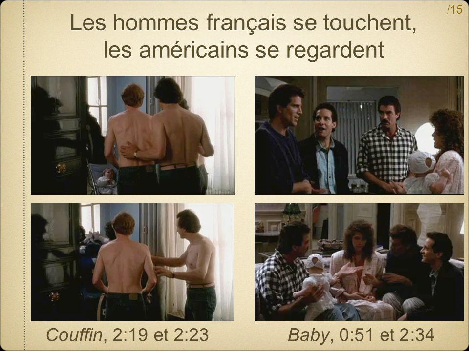 /15 Les hommes français se touchent, les américains se regardent Couffin, 2:19 et 2:23Baby, 0:51 et 2:34