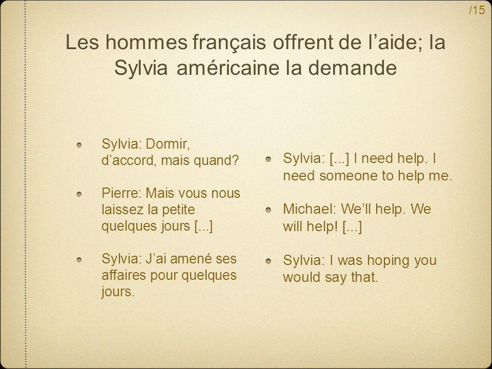 /15 Les hommes français offrent de laide; la Sylvia américaine la demande Sylvia: Dormir, daccord, mais quand.