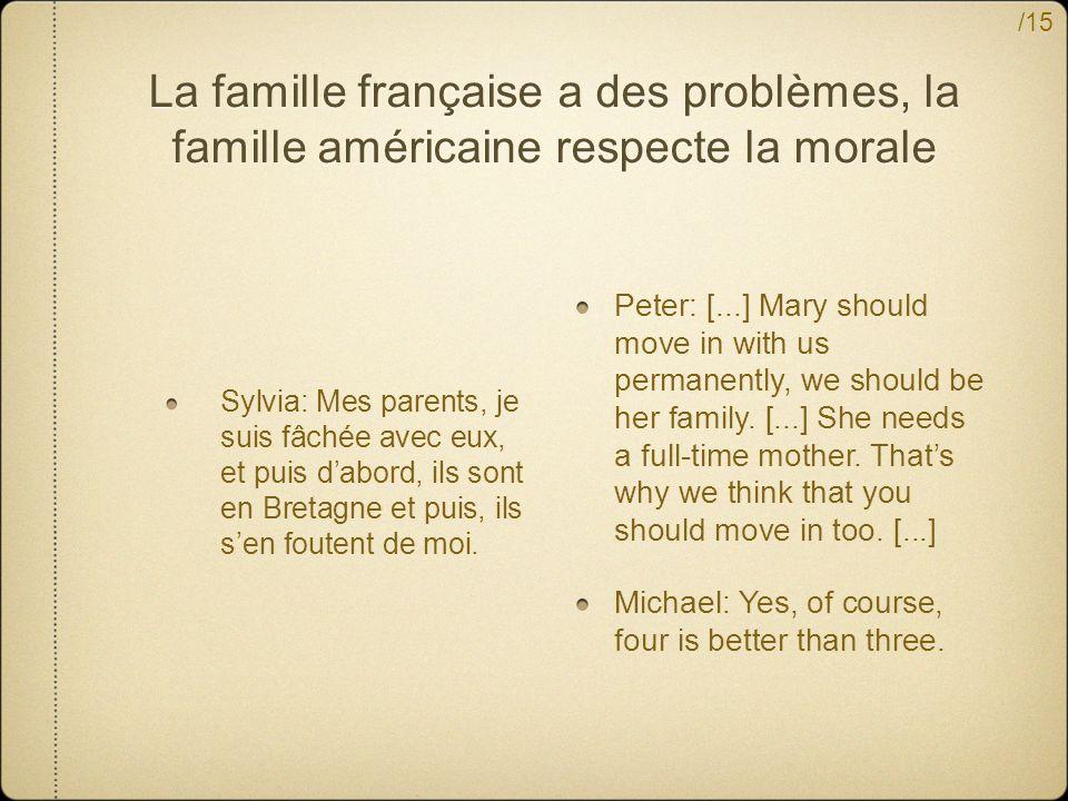 /15 La famille française a des problèmes, la famille américaine respecte la morale Sylvia: Mes parents, je suis fâchée avec eux, et puis dabord, ils sont en Bretagne et puis, ils sen foutent de moi.
