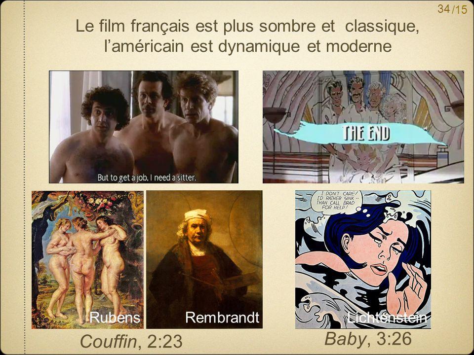 /15 Le film français est plus sombre et classique, laméricain est dynamique et moderne Couffin, 2:23 Baby, 3:26 RubensRembrandtLichtenstein 34
