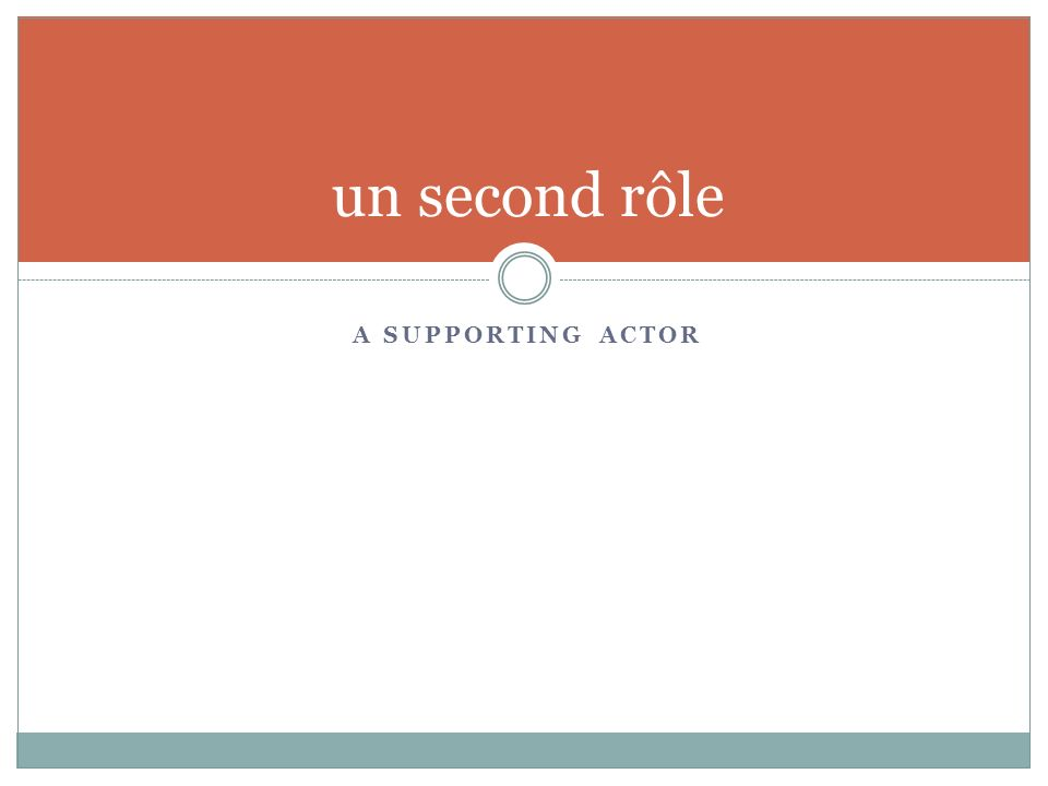 A SUPPORTING ACTOR un second rôle