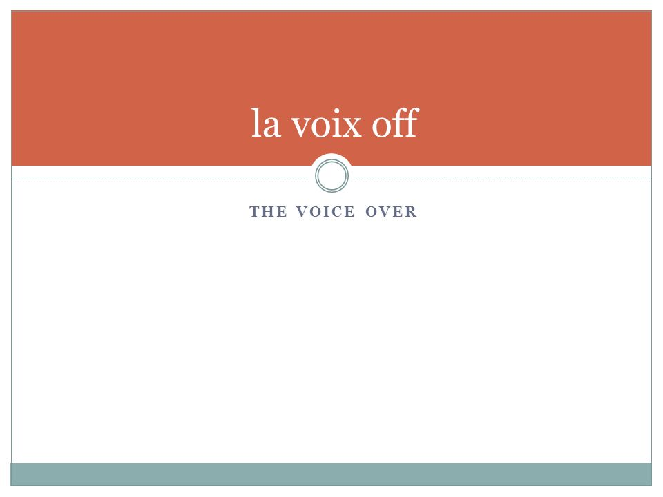 THE VOICE OVER la voix off