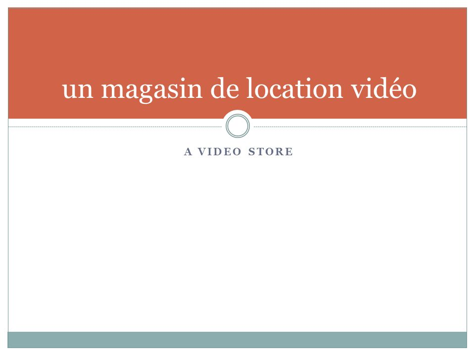 A VIDEO STORE un magasin de location vidéo